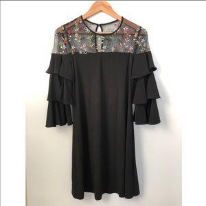Gabby Skye black embroidered ruffle dress size 6